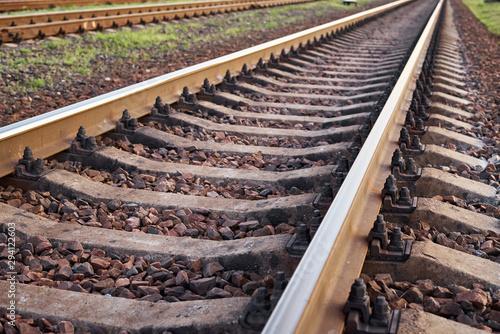 Fotografía  Close up railway track. Part of the railroad
