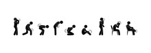 Person Feels Pain, A Set Of Illustrations Of The Symptoms Of Various Diseases, Stick Figure People Pictograms