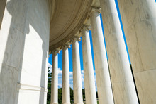 Scenic View Of White Marble Neoclassical Columns From The Interior Of The Rotunda At The Jefferson Memorial In Washington DC, USA