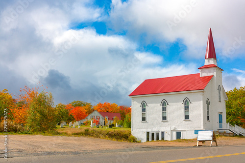 Fotografiet Church at roadside, Cabot Trail, Cape Breton Island, Nova Scotia
