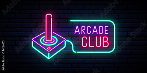 Retro joystick neon sign. Video game and entertainment design template. Night bright signboard.