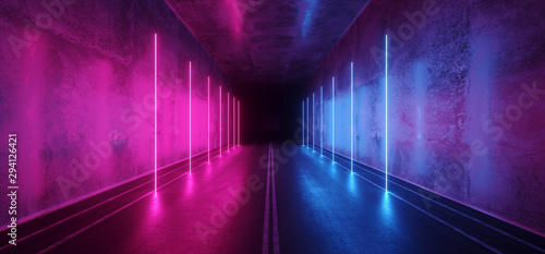 Asphalt Cement Road Double Lined Sci Fi Futuristic  Concrete Walls Underground Dark Night Car Show Neon Laser Led Lights Glowing Purple Blue Arc Virtual Stage Showroom 3D Rendering - 294126421