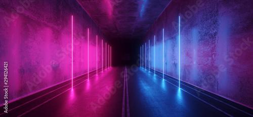 Fotomural  Asphalt Cement Road Double Lined Sci Fi Futuristic  Concrete Walls Underground D