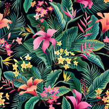 Seamless Floral Pattern. Tropical Floral Pattern With Hibiscus And Palm Leaves On Black Background