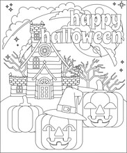 A Happy Halloween Background Or Party Invite With A Haunted House And Carved Jack O Lantern Pumpkins