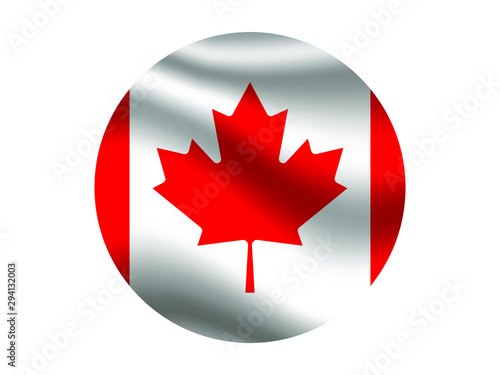 Canada Waving national flag with inside sticker round circke isolated on white background. original colors and proportion. Vector illustration, from countries flag set
