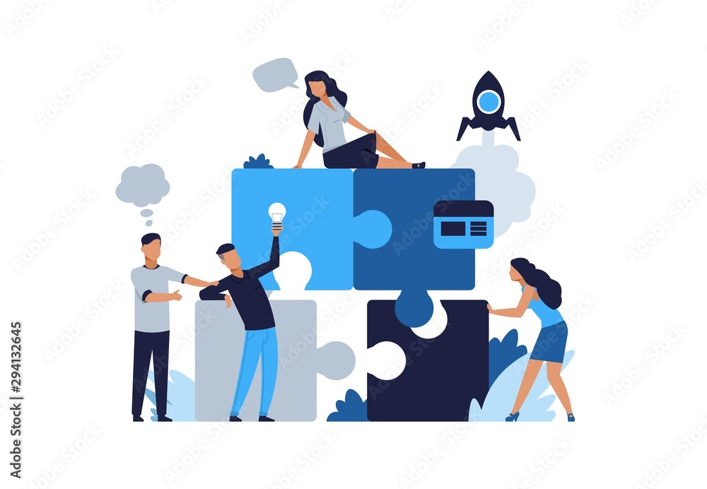 Fototapeta Business puzzle concept. Teamwork and partnership flat puzzle with cartoon businessman. Vector illustrations people connected in collaboration for jigsaw solutions and development business