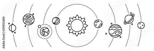 Canvas Print Planet line icons
