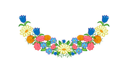 Meadow, summer flowers. Garland of multi-colored, meadow flowers on a white background. Vector illustration.