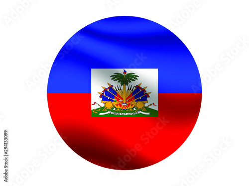 Haiti Waving national flag with inside sticker round circke isolated on white background Wallpaper Mural