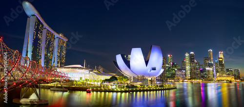 Marina Bay and Singapore city skyline at night Canvas Print
