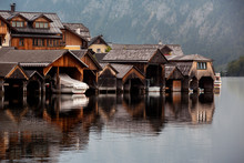 Row Of Old Wooden Boat Sheds I...