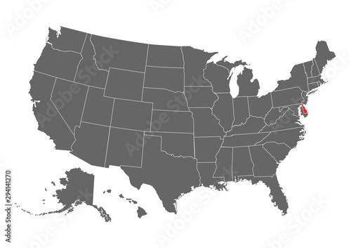 Delaware vector map silhouette Canvas Print