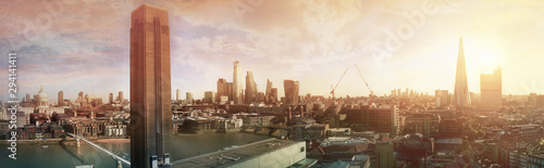 London view at sunset panorama Canvas Print