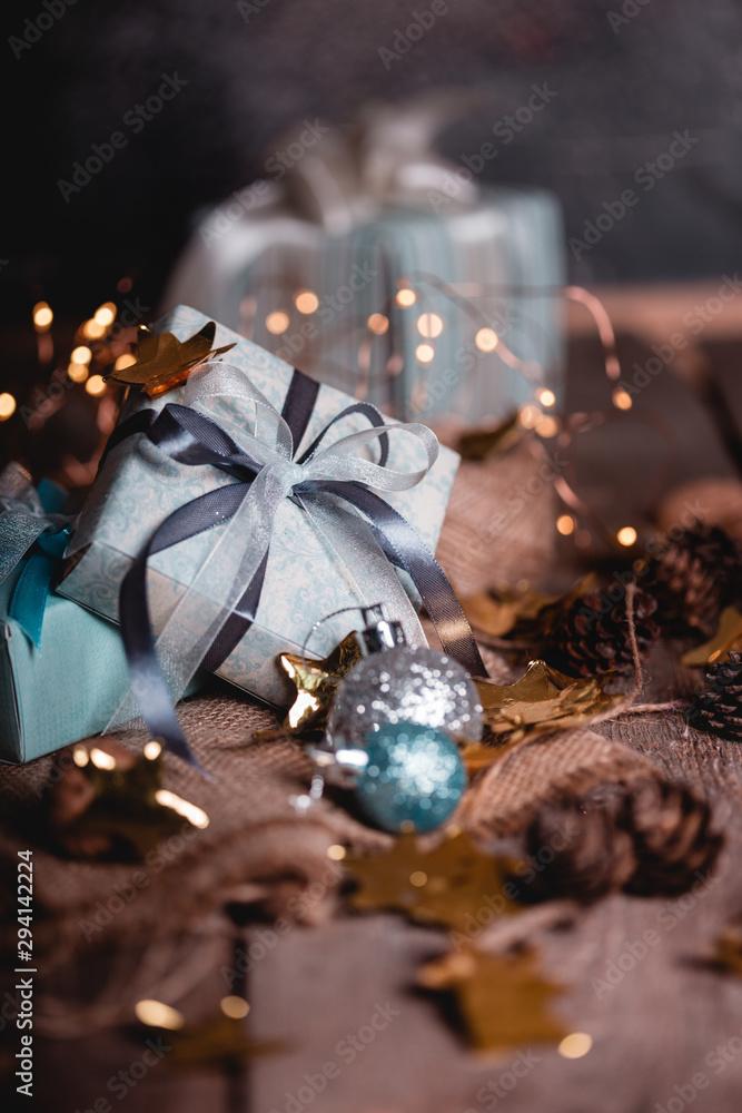 Fototapeta Christmas - group of gifts