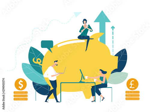 Fototapeta Business people infront of money pig discussing saving strategy. Future needs, loan, education or mortgage credit, savings, financial risk and safety concept. Working together, Making money.  obraz