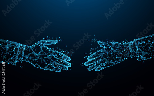 Business handshake from lines, triangles and particle style design. Partnership and Deal concept