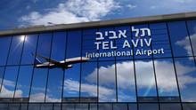 Airplane Landing At Tel Aviv Mirrored In Terminal