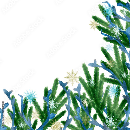 Fototapeta Watercolor hand painted nature holiday celebration corner border frame with green christmas tree fir branches, blue branch garland and bright snowflakes on the white background with the space for text obraz na płótnie