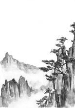 Background With Mountains. Ink...