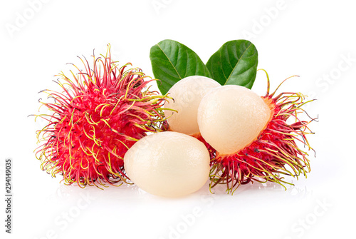 Fototapeta rambutan sweet delicious fruit with leaf  isolated on white background obraz