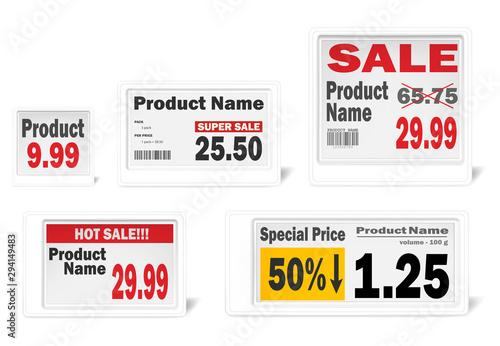 Fotografía Electronic shelf label set, realistic vector mockup