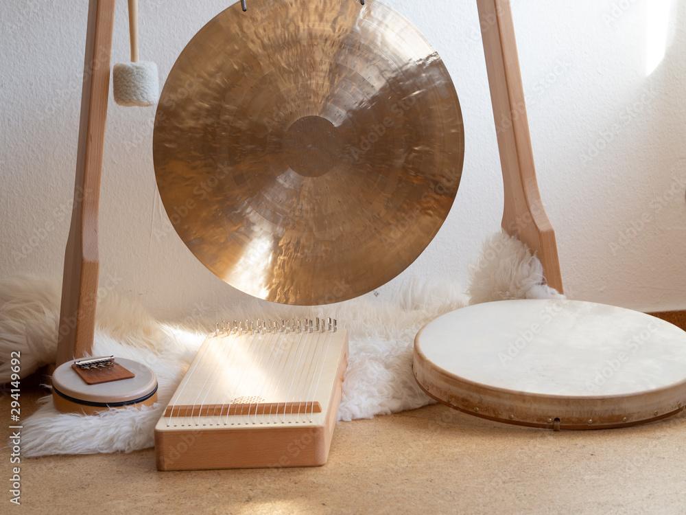 Fototapeta Sound healing instruments set up