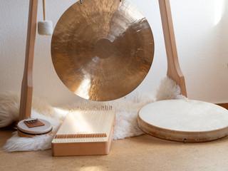 Sound healing instruments set up