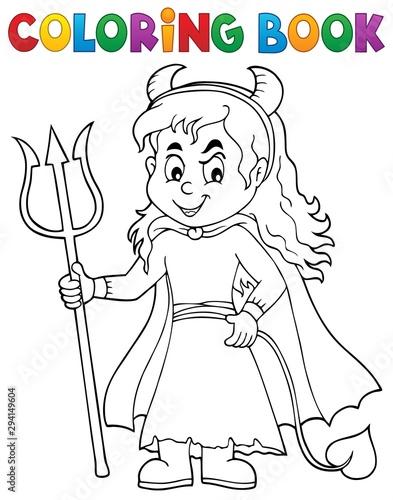 Foto op Canvas Voor kinderen Coloring book girl in devil costume 1