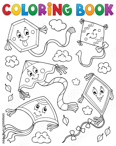 Foto op Canvas Voor kinderen Coloring book happy autumn kites topic 1