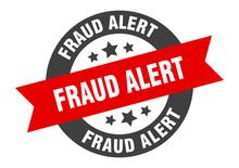 Fraud Alert Sign. Fraud Alert Black-red Round Ribbon Sticker