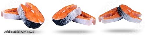 Fotografía  Set of Fresh salmon steak isolated on the white background