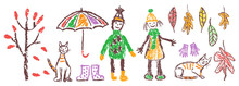 Crayon Hand Drawing Cozy Autum...