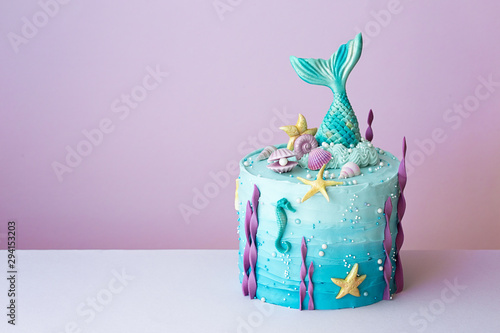 Carta da parati Mermaid birthday cake