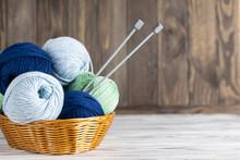 Knitting Blue And Green Yarn I...