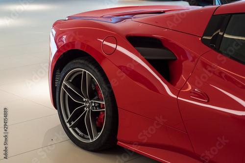 Photographie Mulhouse - France - 5 October 2019 - Closeup of red Ferrari front in Ferrari ret