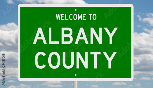 Rendering of a green 3d highway sign for Albany County Tablou Canvas
