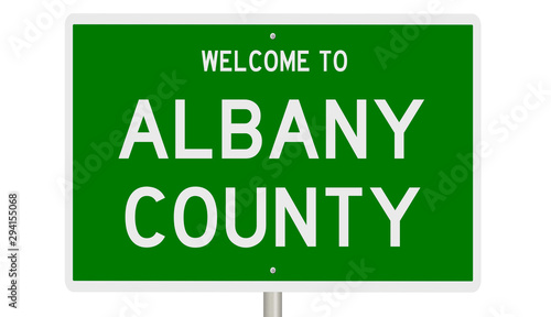 Fotografie, Tablou  Rendering of a green 3d highway sign for Albany County