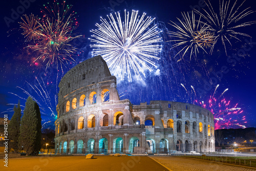 Fireworks display over the Colosseum in Rome, Italy Wallpaper Mural