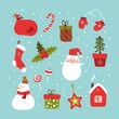 Set of christmas and happy new year items. Vector illustration.