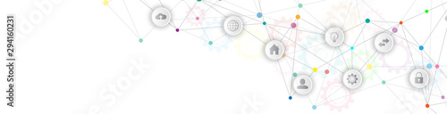 Information technology with infographic elements and flat icons. Wallpaper Mural