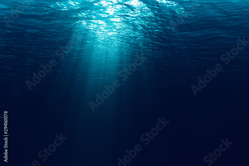 Fotografia perfectly seamless of deep blue ocean waves from underwater background with micr