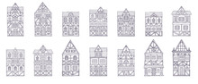 German Houses Collection, Simple Sketch Style Line Fasade Front View. Outline Silhouettes Set. Hand Drawn Vector Illustration.