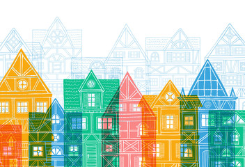 Panel Szklany Architektura German houses cartoon cover urban landscape white background. Front view of European city street colorful building facades silhouette. Hand drawn vector illustration sketch style.