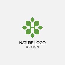 Letter H Leaf Logo Design Temp...