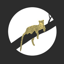 Vector Illustration Of African Leopard - Hand Drawn Retro Vintage Poster Design. Panther Animal Portarit.