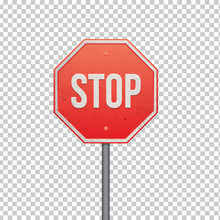 Red STOP Sign Isolated On Tran...