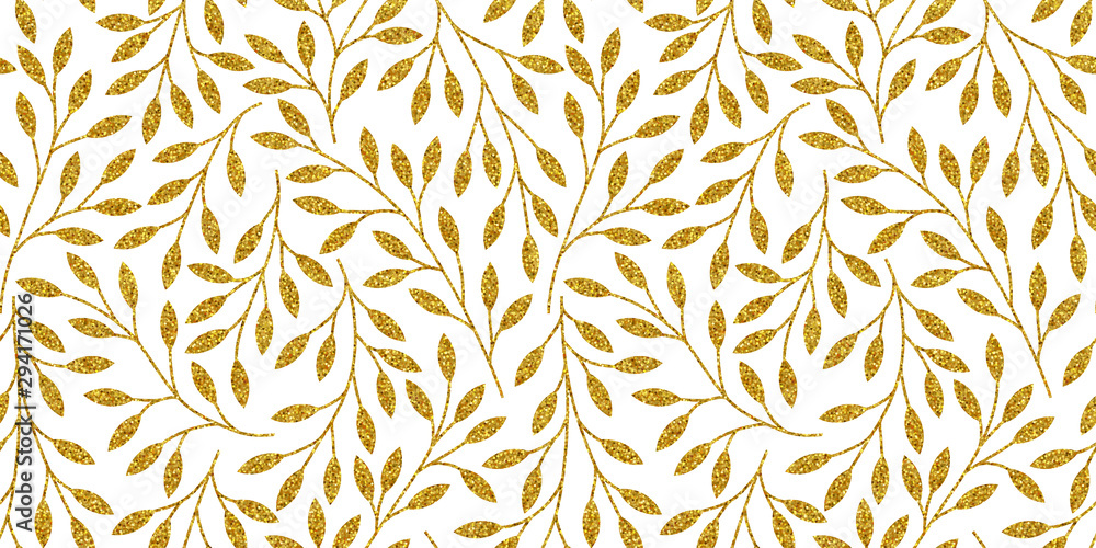 Elegant floral seamless pattern with golden tree branches. Vector illustration.