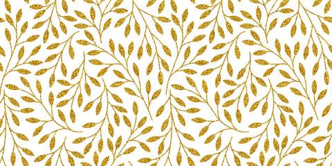 Panel Szklany Do sypialni Elegant floral seamless pattern with golden tree branches. Vector illustration.