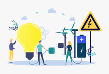 The Concept Of Transition To Environmental Energy. Saving Energy, Sustainable Energy Concept. Colorful Vector Illustration